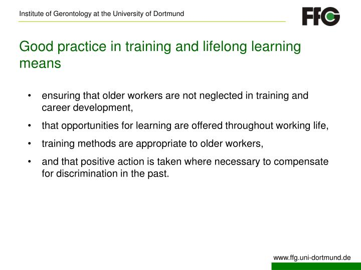 Good practice in training and lifelong learning means