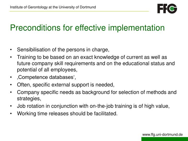 Preconditions for effective implementation