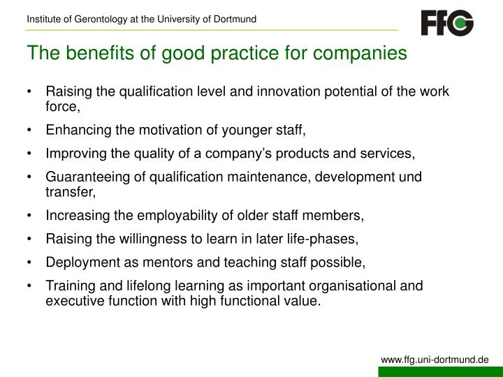 The benefits of good practice for companies