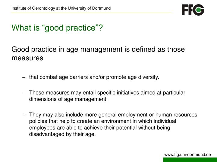 "What is ""good practice""?"