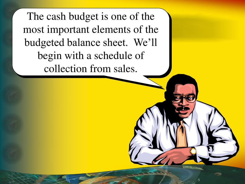 The cash budget is one of the most important elements of the budgeted balance sheet.  We'll begin with a schedule of collection from sales.
