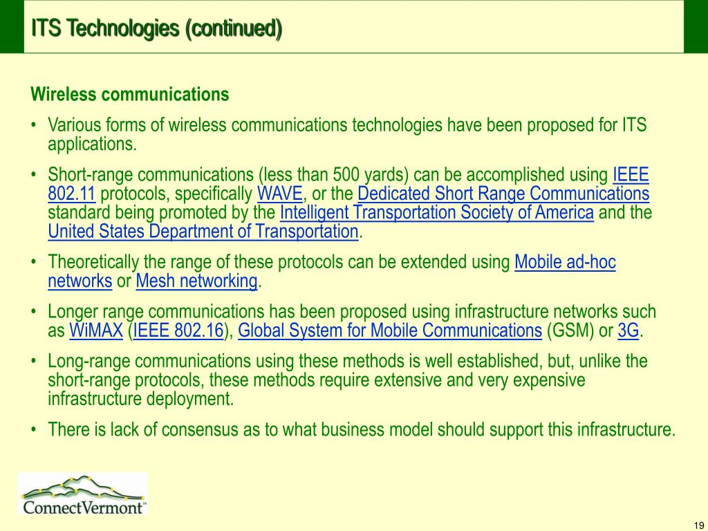 ITS Technologies (continued)