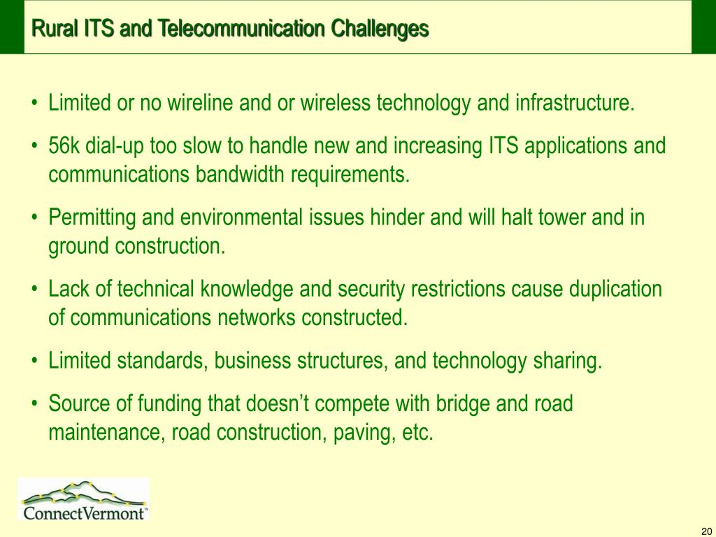 Rural ITS and Telecommunication Challenges