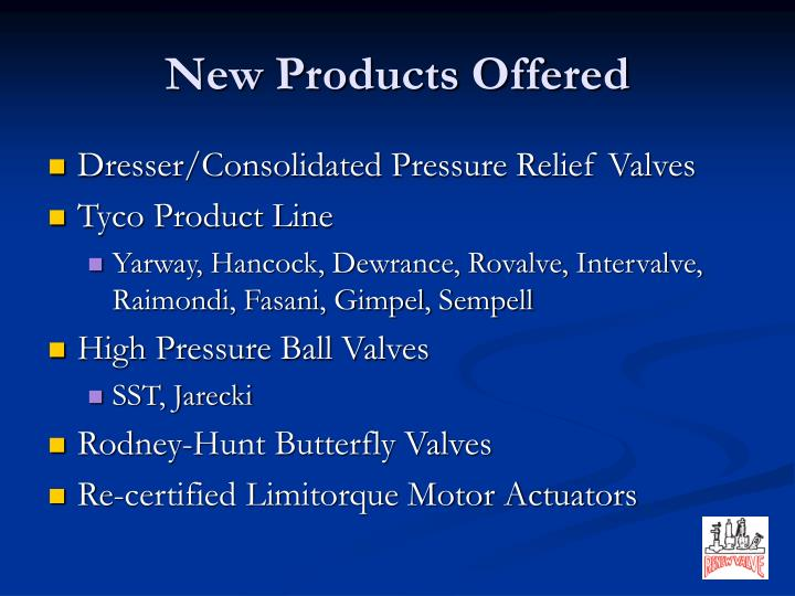 New Products Offered