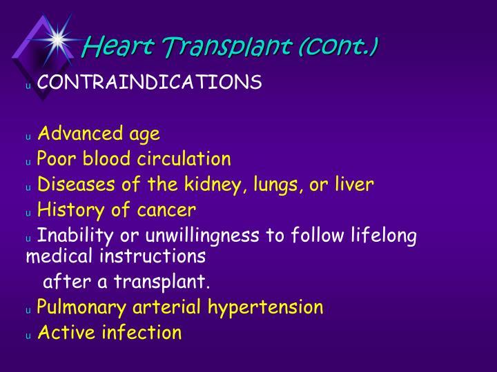 Heart Transplant (cont.)