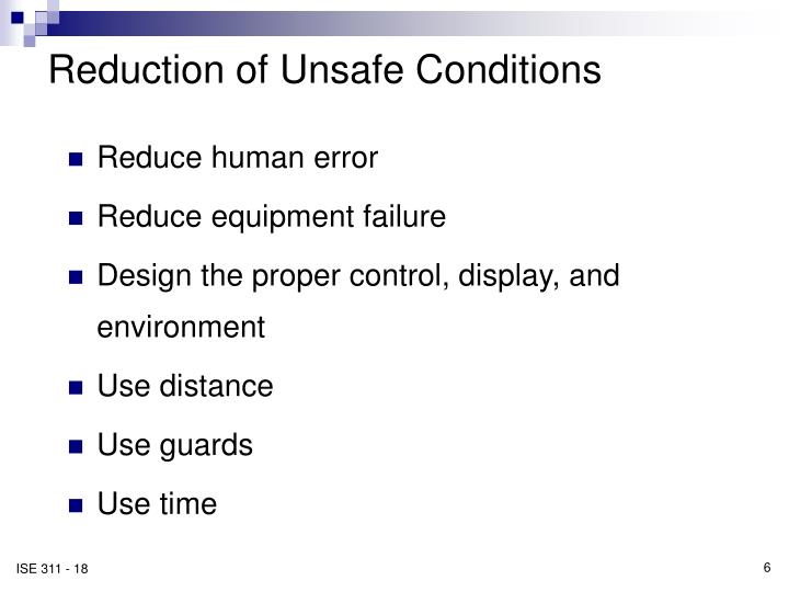Reduction of Unsafe Conditions