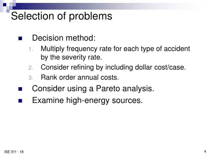 Selection of problems