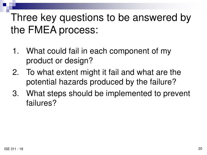 Three key questions to be answered by the FMEA process: