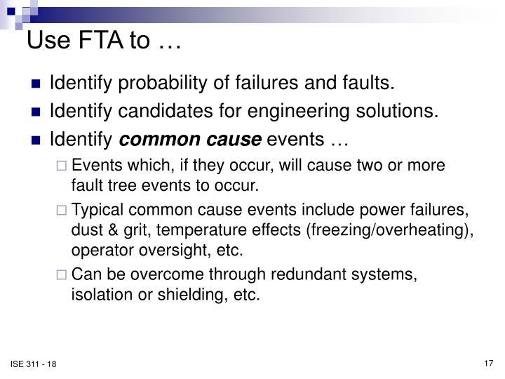 Use FTA to …