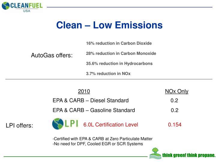 Clean – Low Emissions