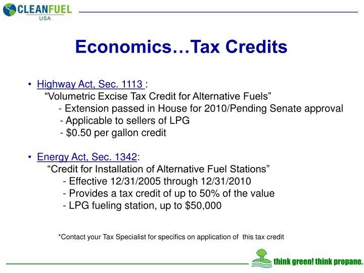 Economics…Tax Credits