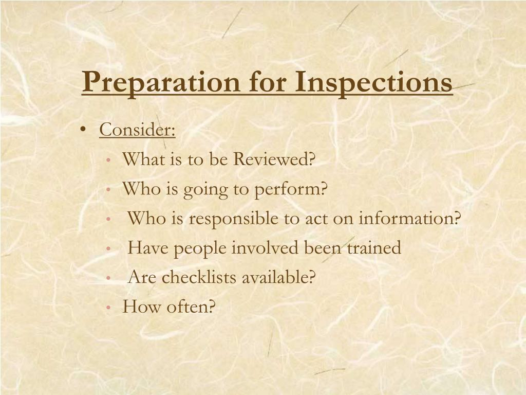 Preparation for Inspections