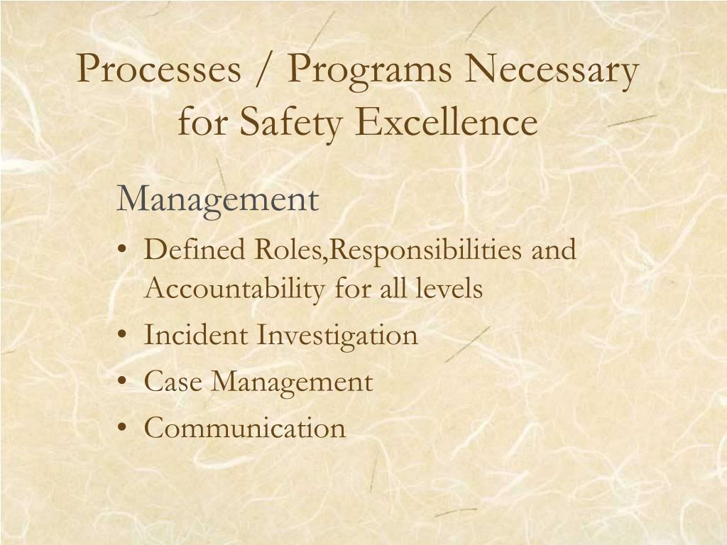 Processes / Programs Necessary for Safety Excellence