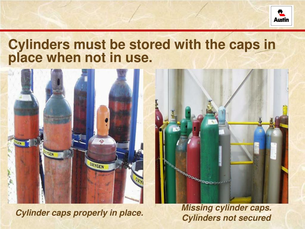 Cylinders must be stored with the caps in place when not in use.