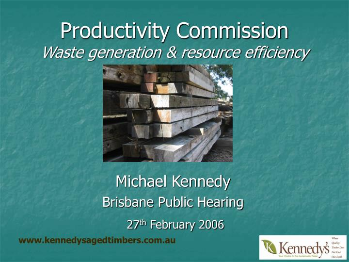 Productivity commission waste generation resource efficiency