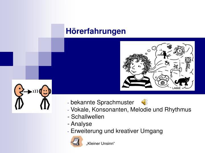 bekannte Sprachmuster