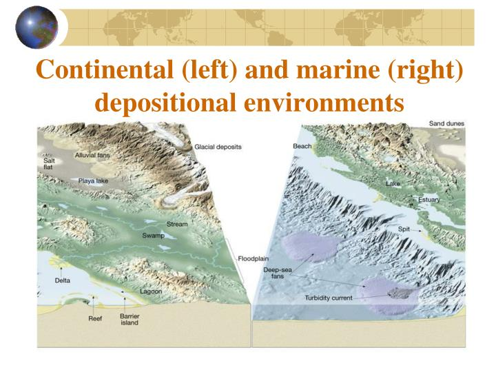 Continental (left) and marine (right) depositional environments