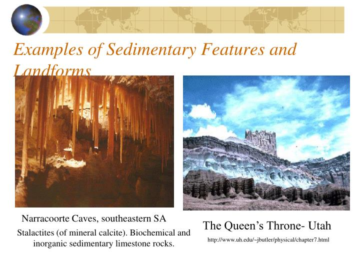 Examples of Sedimentary Features and Landforms