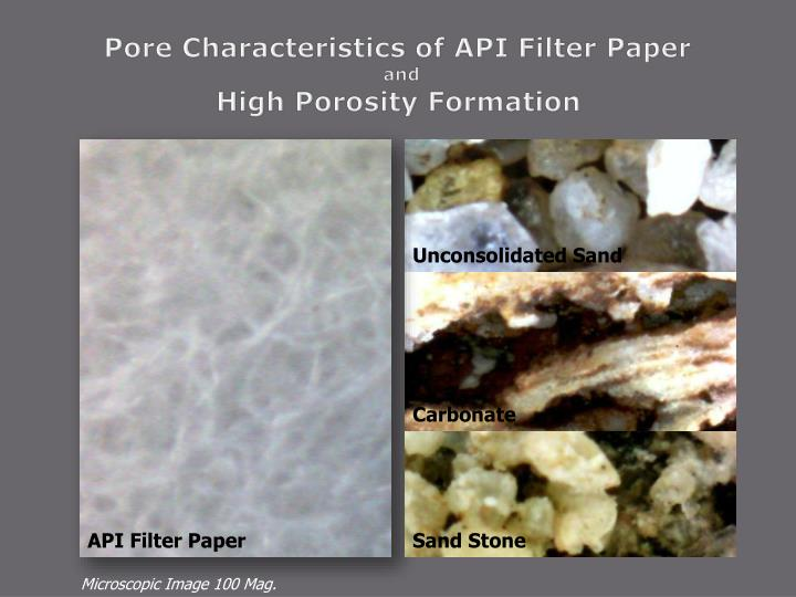 Pore Characteristics of API Filter Paper