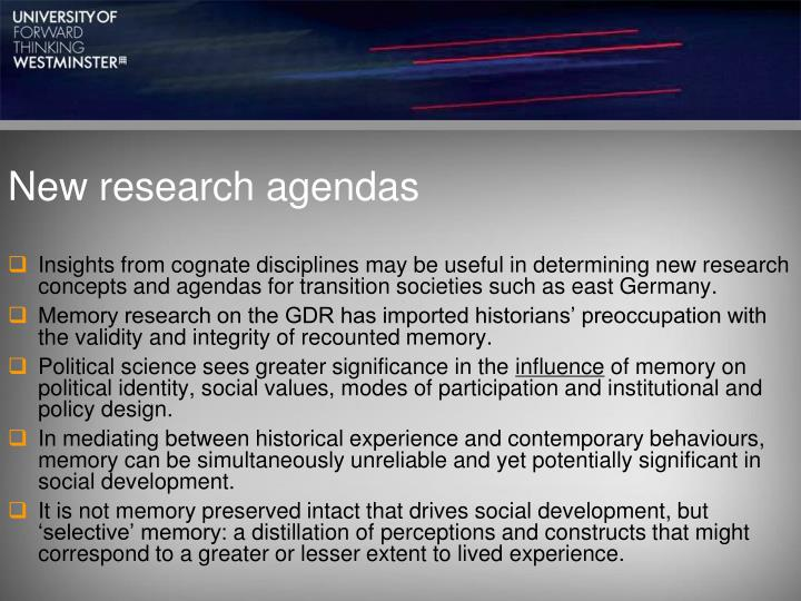 New research agendas
