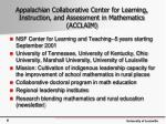 appalachian collaborative center for learning instruction and assessment in mathematics acclaim