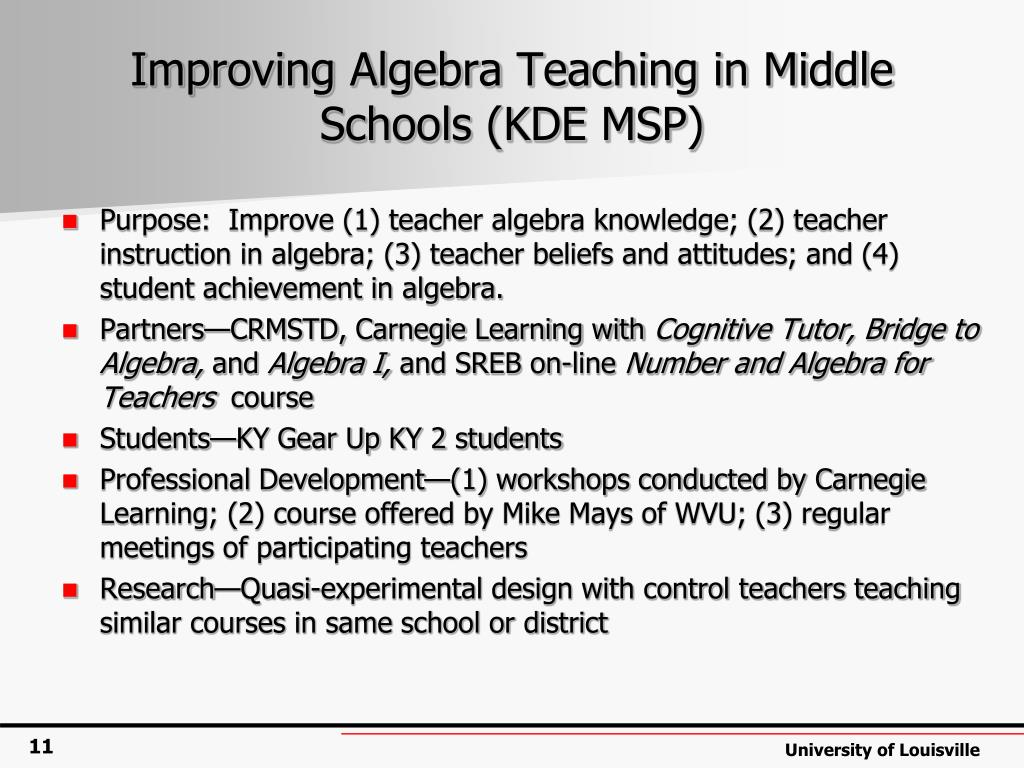 Improving Algebra Teaching in Middle Schools (KDE MSP)