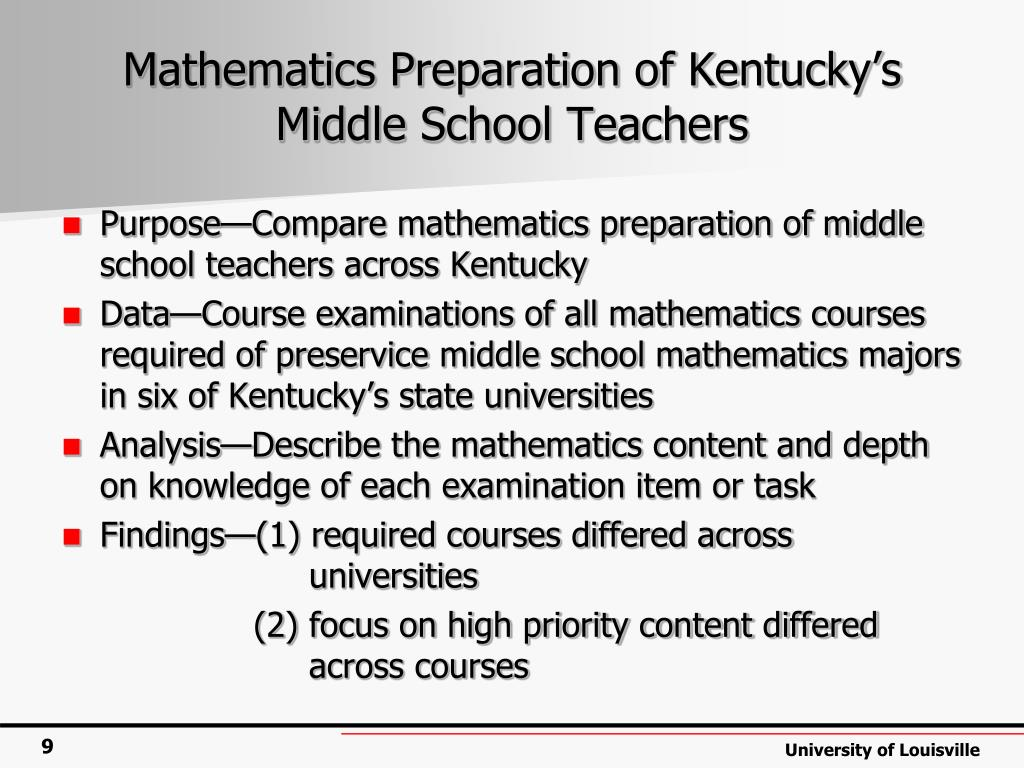 Mathematics Preparation of Kentucky's Middle School Teachers