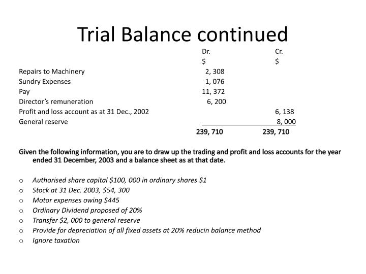 Trial balance continued