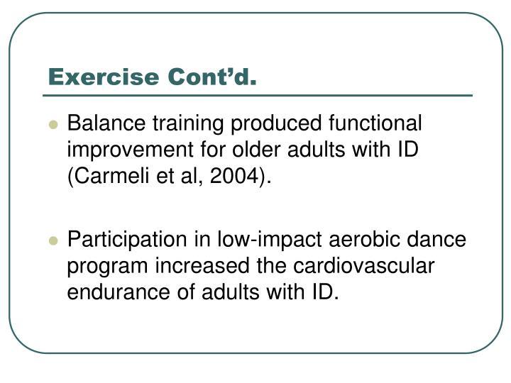 Exercise Cont'd.