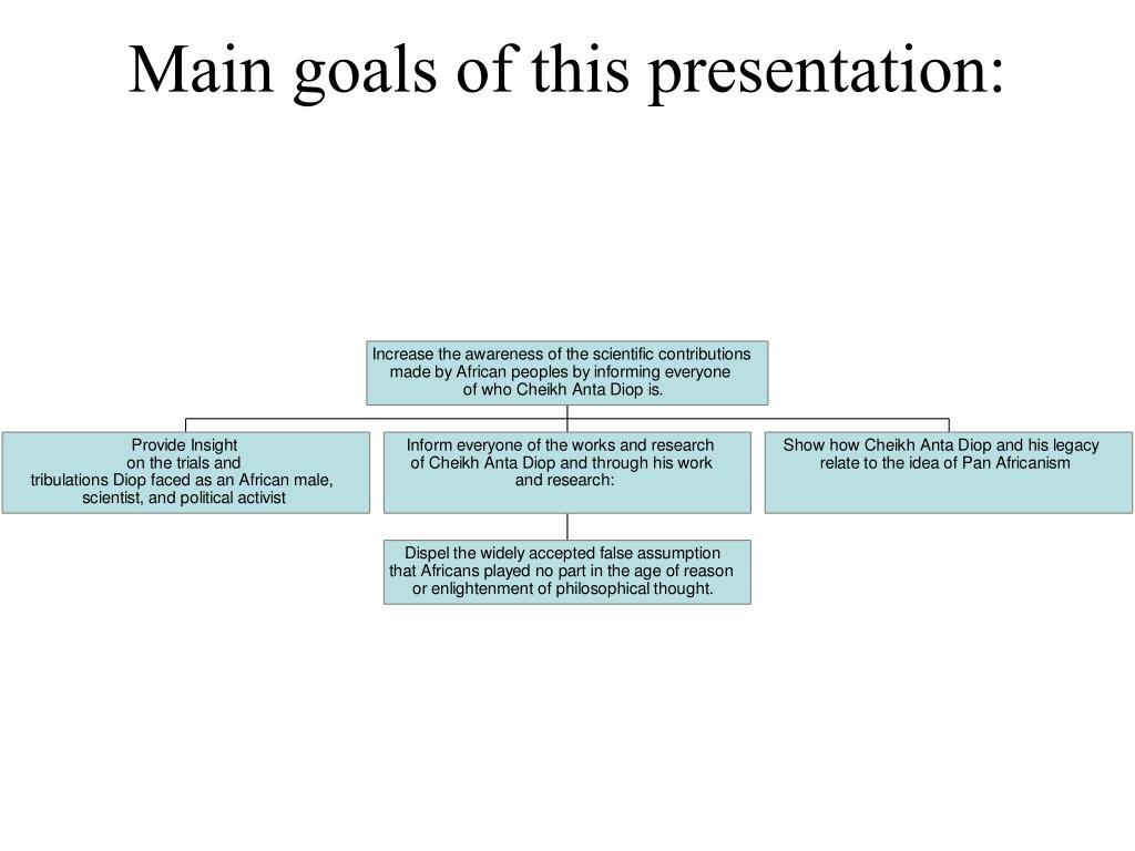 Main goals of this presentation: