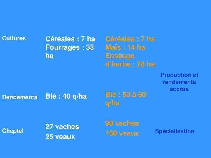 Production et rendements accrus