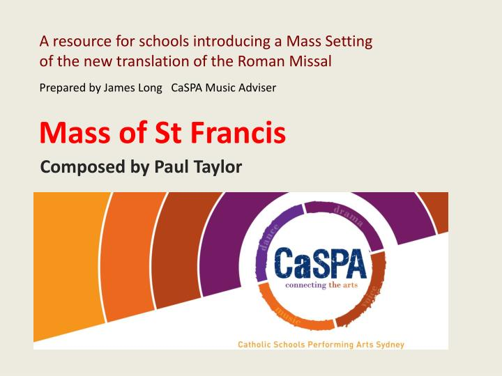 A resource for schools introducing a Mass Setting