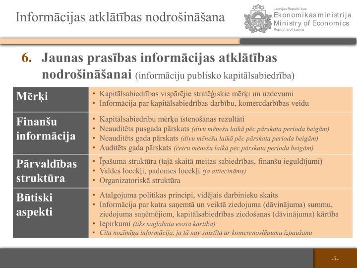 Informācijas atklātības nodrošināšana