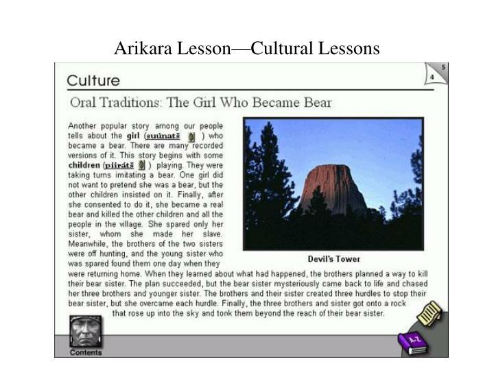 Arikara Lesson—Cultural Lessons