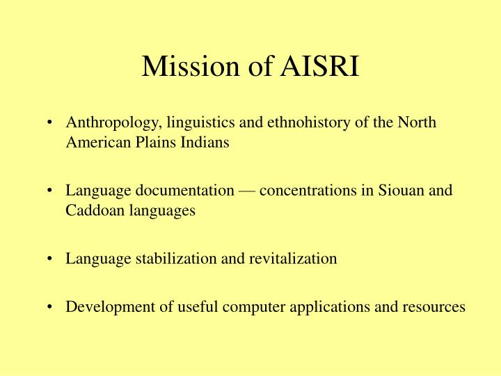 Mission of AISRI