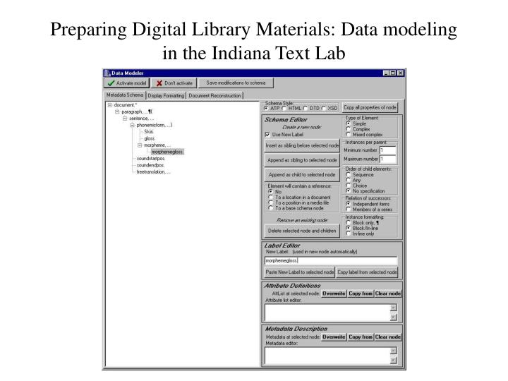 Preparing Digital Library Materials: Data modeling in the Indiana Text Lab