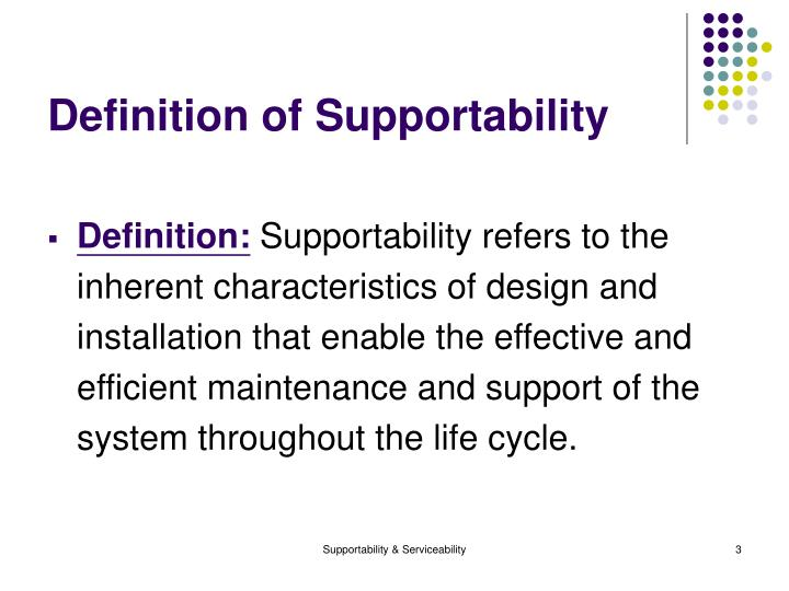 Definition of supportability