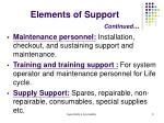 elements of support continued