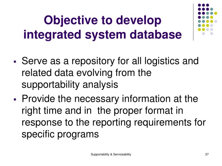 Objective to develop integrated system database