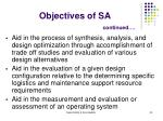 objectives of sa continued