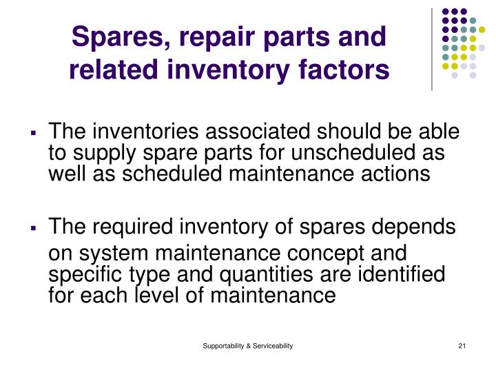 Spares, repair parts and related inventory factors
