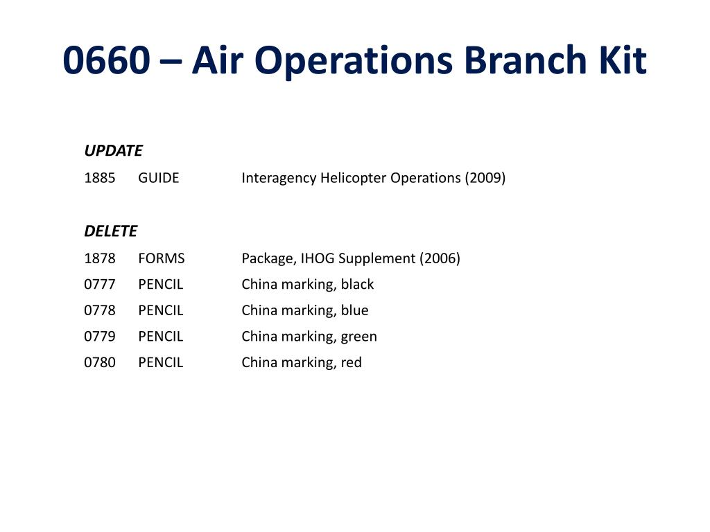 0660 – Air Operations Branch Kit