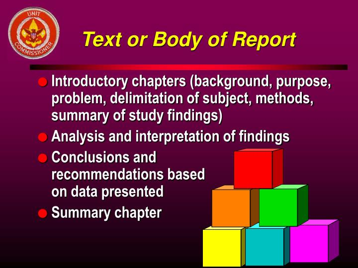 Text or Body of Report