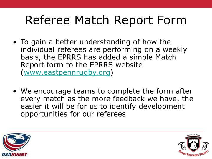 Referee Match Report Form