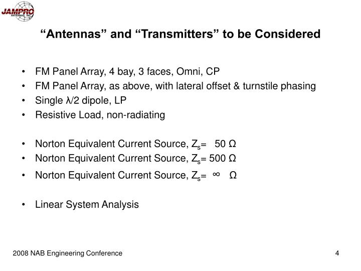 """""""Antennas"""" and """"Transmitters"""" to be Considered"""