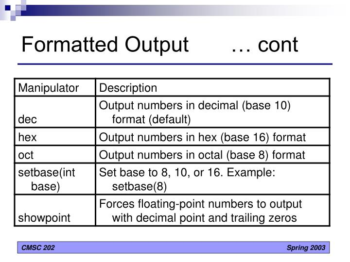 Formatted Output       … cont