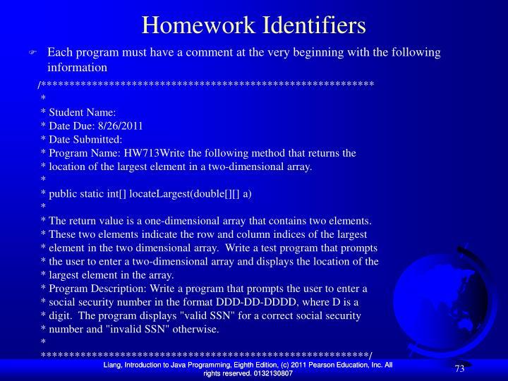 Homework Identifiers