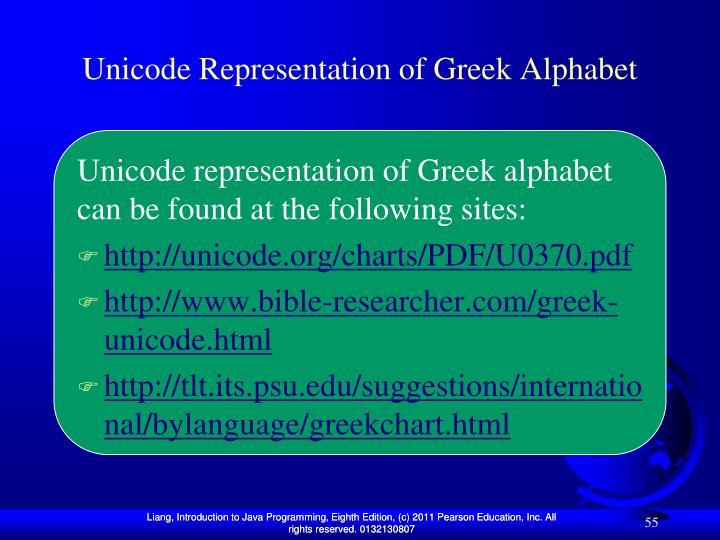 Unicode Representation of Greek Alphabet