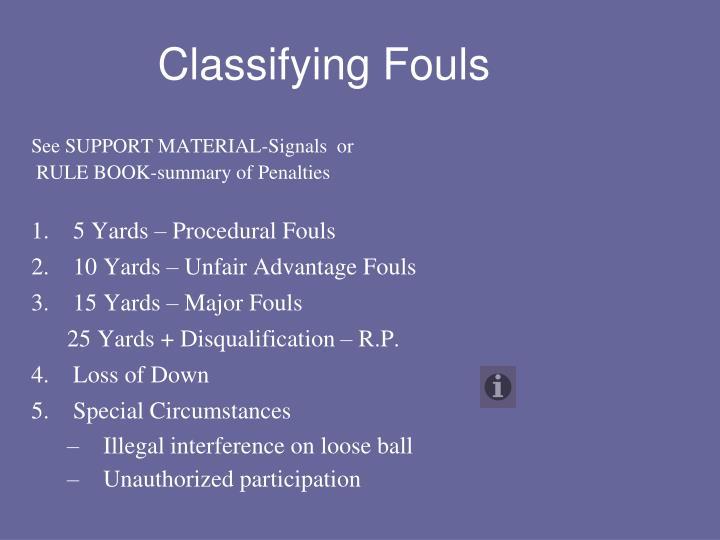 Classifying Fouls