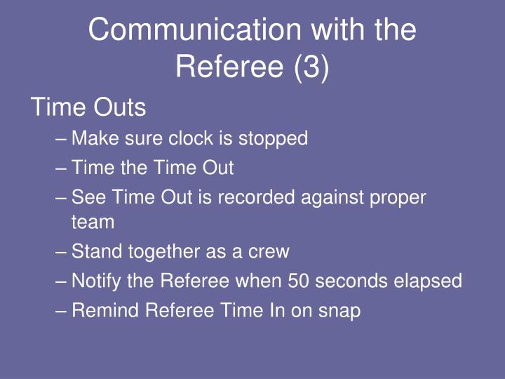 Communication with the Referee (3)